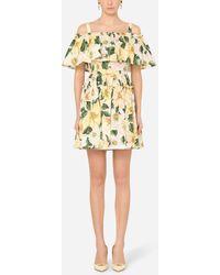 Dolce & Gabbana Short Camellia-Print Poplin Dress - Gelb