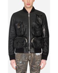 Dolce & Gabbana Leather Coat With Multiple Pockets - Schwarz