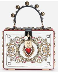 c0a78fbd0630 Dolce   Gabbana - Dolce Box Bag In Printed Dauphine Calfskin With Appliqués  - Lyst