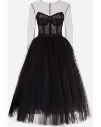 Dolce & Gabbana Long-Sleeved Tulle Dress - Schwarz