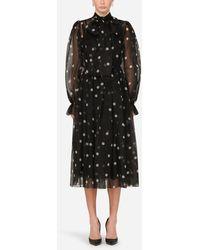 Dolce & Gabbana Polka-Dot-Print Organza Calf-Length Dress - Nero