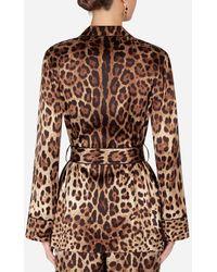Dolce & Gabbana Leopard-Print Satin Pajama Shirt With Belt - Braun