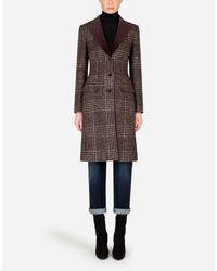 Dolce & Gabbana - Single-Breasted Tartan Tweed Coat - Lyst