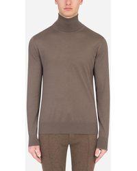 Dolce & Gabbana Cashmere And Silk Turtle-Neck Sweater - Grau