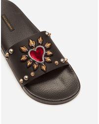Dolce & Gabbana Slide Aus Gummi Und Kalbsleder Mit Herz-Patch - Schwarz