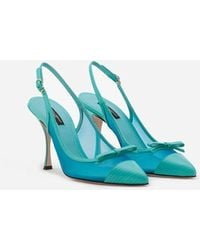 Dolce & Gabbana Sling Back Shoes In Iguana Print Leather And Mesh - Blue
