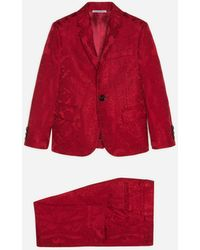 Dolce & Gabbana Einreihiger Anzug Aus Dekorativem Jacquard - Rot
