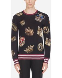 Dolce & Gabbana - Crew Neck Knit In Printed Silk - Lyst
