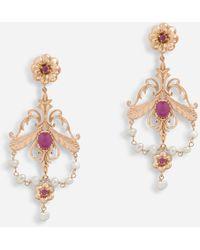 Dolce & Gabbana Boucles D'Oreilles Style Baroque Avec Rubis - Métallisé