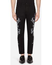 Dolce & Gabbana Stretch Skinny Jeans Mit Bandana-Print - Schwarz