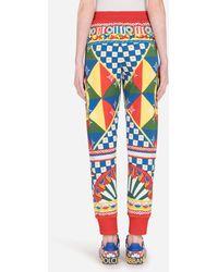 Dolce & Gabbana Carretto-print Jersey jogging Pants - Blue