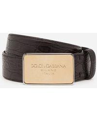 Dolce & Gabbana Crocodile Nappa Belt With Logo Buckle - Noir
