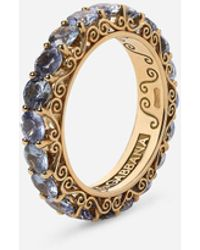 Dolce & Gabbana Heritage Band Ring In Yellow 18kt Gold With Light Blue Sapphires - Metallic