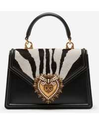 Dolce & Gabbana Small Devotion Bag In Pony-style Material With Zebra Print - Black