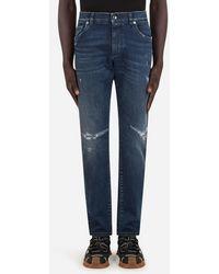 Dolce & Gabbana Blue Slim-Fit Stretch Jeans With Rips - Blau