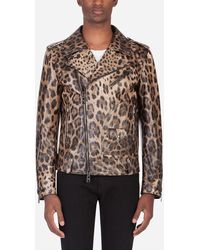 Dolce & Gabbana Lambskin Leather Jacket With Leopard Print - Brown
