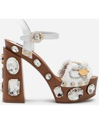 78638565dd1 Dolce   Gabbana - Sandals In Raffia With Platform And Jewel Embellishment -  Lyst