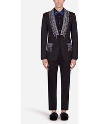 Dolce & Gabbana Floral Jacquard Martini Suit With Appliqué - Black