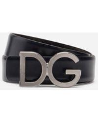 Dolce & Gabbana Cinturón De Becerro Con El Logo Dg - Azul