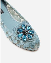 Dolce & Gabbana Slipper In Taormina Lace With Crystals - Azul
