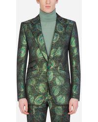 Dolce & Gabbana Jacquard Sicilia-Fit Jacket With Feather Design - Grün
