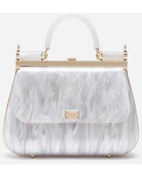 Dolce & Gabbana Borsa Sicily Box In Sint Glass Madreperla - Bianco