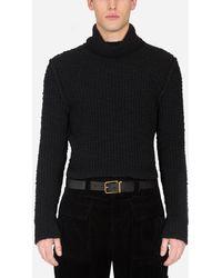 Dolce & Gabbana Ribbed Wool Turtle-Neck Sweater - Nero