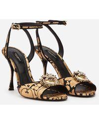Dolce & Gabbana Jacquard Lurex Devotion Sandals - Multicolor