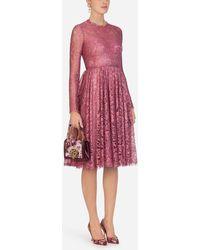 Dolce & Gabbana Chantilly Lamé Lace Midi Dress - Multicolour