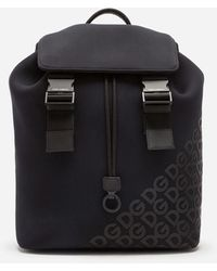 Dolce & Gabbana Millennials Logo Backpack In Neoprene With Rubberized Dg - Schwarz