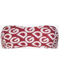 Dolce & Gabbana Bandeau-Bikinitop Print Dg Logo - Rot