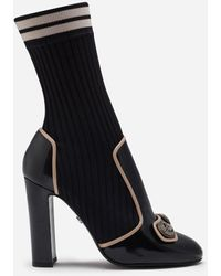Dolce & Gabbana Polished Calfskin Ankle Boots With Knit Sock Detail - Negro