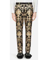 Dolce & Gabbana Gold Jacquard Pants - Metallic