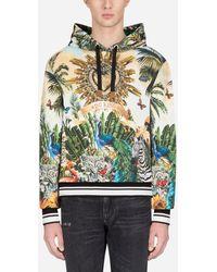 "Dolce & Gabbana Kapuzenpullover mit ""Tropical King""-Print - Grün"