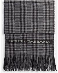 Dolce & Gabbana Glen Plaid Wool Scarf - Grey