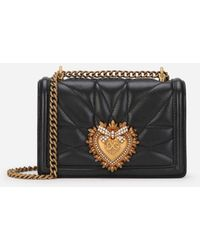 Dolce & Gabbana Small Devotion Crossbody Bag In Quilted Nappa Leather - Schwarz