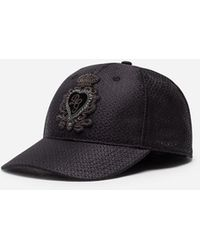 Dolce & Gabbana Baseball Cap In Jacquard Silk With Patch - Nero