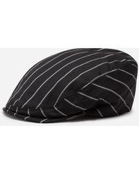 Dolce & Gabbana Flat Cap In Pinstripe Stretch Wool - Schwarz