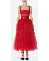 Dolce & Gabbana Bustier Tulle Midi Dress - Red