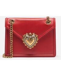 Dolce & Gabbana Mittelgrosse Devotion Bag Aus Glattem Kalbsleder - Rot