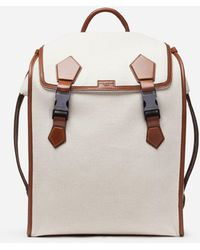 Dolce & Gabbana Edge Backpack In Canvas And Cowhide - Natural