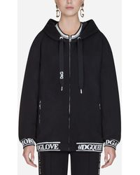 Dolce & Gabbana Jacquard-trimmed Cotton-jersey Hoodie - Black