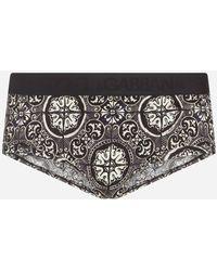 Dolce & Gabbana Cotton Brando Briefs With Maiolica Print On A Black Background - Noir