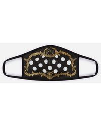 Dolce & Gabbana Neoprene Face Mask With Baroque And Polka-Dot Print - Nero