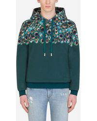 Dolce & Gabbana Jersey Hoodie With Feather Print - Blau