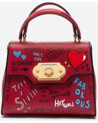 Dolce & Gabbana Welcome Handtasche Aus Kalbsleder Mit Murales-Print - Rot