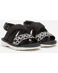 Dolce & Gabbana Sandale Beachwear Aus Kalbsleder Mit Logoband Und Dg Rubber - Schwarz