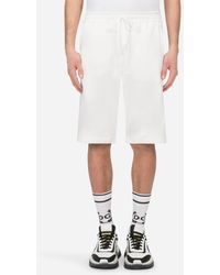 Dolce & Gabbana Jersey Jogging Shorts With Dg Logo - Weiß