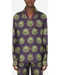 Dolce & Gabbana Polka-Dot And Peacock-Print Silk Pajama Shirt - Mehrfarbig