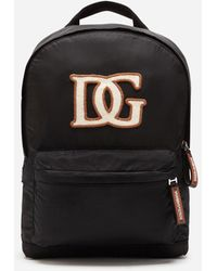 Dolce & Gabbana Nylon Backpack With Dg Patch - Black